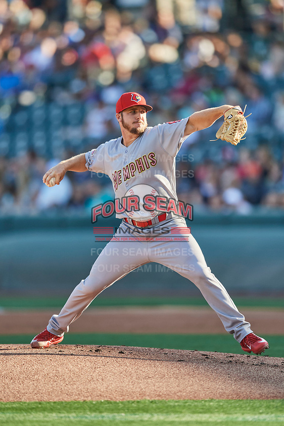 Memphis Redbirds starting pitcher Kevin Herget (16) delivers a pitch to the plate against the Salt Lake Bees  at Smith's Ballpark on July 24, 2018 in Salt Lake City, Utah. Memphis defeated Salt Lake 14-4. (Stephen Smith/Four Seam Images)