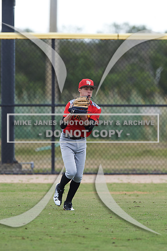 Keoni Painter (10) of Wailuku, Hawaii during the Baseball Factory All-America Pre-Season Rookie Tournament, powered by Under Armour, on January 13, 2018 at Lake Myrtle Sports Complex in Auburndale, Florida.  (Michael Johnson/Four Seam Images)