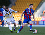 24th March 2018, McDiarmid Park, Perth, Scotland; Scottish Football Challenge Cup Final, Dumbarton versus Inverness Caledonian Thistle; Joe Chalmers of Inverness Caledonian Thistle turns away on the ball from Kyle Hutton of Dumbarton