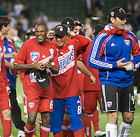 CARSON, CA – NOVEMBER 14:  Dallas FC players celebrating their win after the Western Conference Final soccer match at the Home Depot Center, November 14, 2010 in Carson, California. Final score LA Galaxy 0, Dallas FC 3.