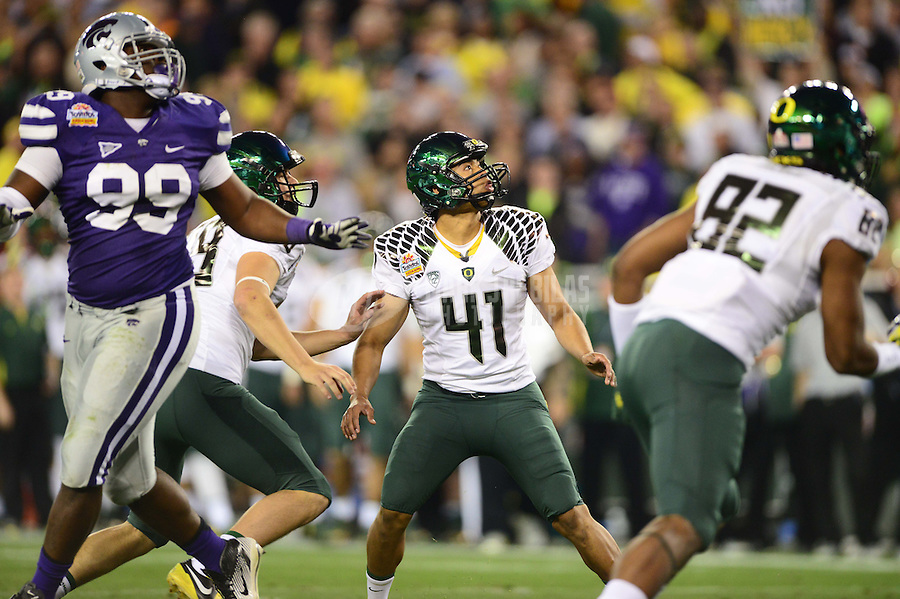 Jan. 3, 2013; Glendale, AZ, USA: Oregon Ducks kicker Alejandro Maldonado (41) reacts after having his extra point kick blocked by the Kansas State Wildcats during the 2013 Fiesta Bowl at University of Phoenix Stadium. Oregon defeated Kansas State 35-17. Mandatory Credit: Mark J. Rebilas-