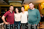 At a Tralee Credit Union  Staff Social in Stoker Lodge on Saturday were l-r  Adam Twomey, Roisin Smullen, Una Brosnan and Aidan Healy