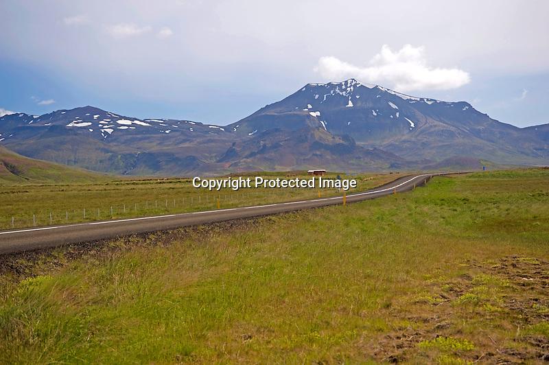 View of Road through Kerlingarskard Mountain Pass to Stykkisholmur in Iceland