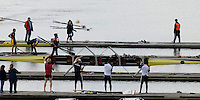 "Seville. SPAIN, 17.02.2007, GV from the ""Puente de la Alamillo""  [bridge] as the GBR M4- boat to race in the Saturdays final, of the FISA Team Cup, held on the River Guadalquiver course. [Photo Peter Spurrier/Intersport Images] [left to right] Andy TRIGGS HODGE, Matt LANGRIDGE, Peter REED and Steve WILLIAMS   [Mandatory Credit, Peter Spurier/ Intersport Images]. , Rowing Course: Rio Guadalquiver Rowing Course, Seville, SPAIN,"