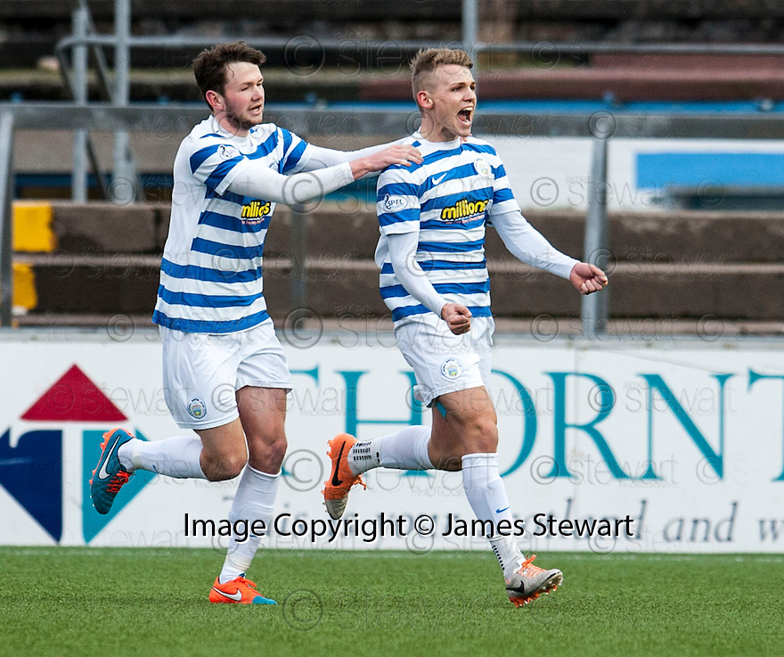 Morton's Joseph McKee (right) celebrates with Lee Kilday after scoring their first goal.