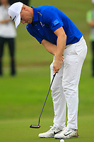 Alex Noren (Europe) on the 8th green during the Friday Foursomes of the Eurasia Cup at Glenmarie Golf and Country Club on the 12th January 2018.<br /> Picture:  Thos Caffrey / www.golffile.ie