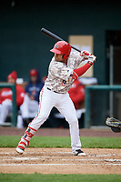 Harrisburg Senators first baseman Austin Davidson (8) at bat during the second game of a doubleheader against the New Hampshire Fisher Cats on May 13, 2018 at FNB Field in Harrisburg, Pennsylvania.  Harrisburg defeated New Hampshire 2-1.  (Mike Janes/Four Seam Images)