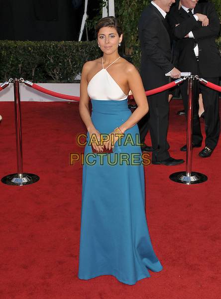 JAMIE-LYNN SIGLER.At The 14th annual Screen Actors Guild Awards (SAG Awards)  held at Shrine Auditorium, Los Angeles, California USA, January 27, 2008..full length blue teal white dress two tone block colour halterneck Jamie Lynn.CAP/DVS.©Debbie VanStory/Capital Pictures