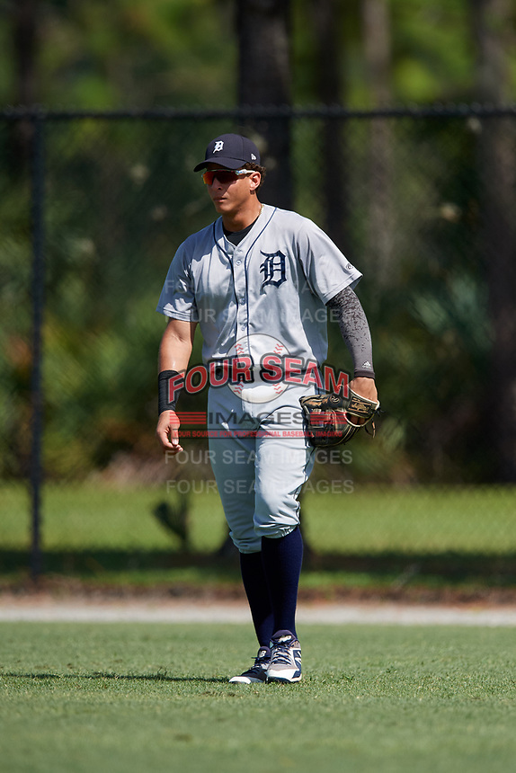 GCL Tigers West right fielder Julio Martinez (31) during a game against the GCL Tigers East on August 8, 2018 at Tigertown in Lakeland, Florida.  GCL Tigers East defeated GCL Tigers West 3-1.  (Mike Janes/Four Seam Images)