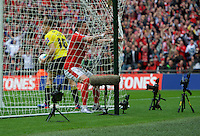 Adam Hammill of Barnsley celebrates their 2nd goal during the Johnstone's Paint Trophy Final match between Oxford United and Barnsley at Wembley Stadium, London, England on 3 April 2016. Photo by Alan  Stanford / PRiME Media Images.