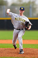 Michigan Wolverines pitcher Matt Ogden #50 delivers a pitch during a game against the West Virginia Mountaineers at the Big Ten/Big East Challenge at the Walter Fuller Complex on February 19, 2012 in St. Petersburg, Florida.  (Mike Janes/Four Seam Images)