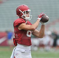 NWA Democrat-Gazette/MICHAEL WOODS &bull; @NWAMICHAELW<br /> University of Arkansas receiver Cody Hollister runs drills during practice Saturday August 22, 2015 at Razorback Stadium in Fayetteville.