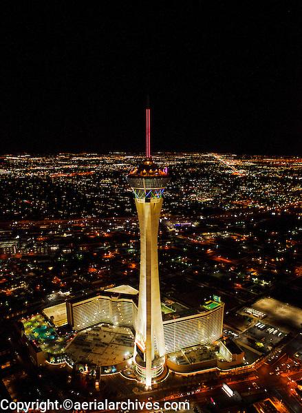 aerial photograph night time Straosphere Hotel Casino Tower, Las Vegas, Clark County, Nevada