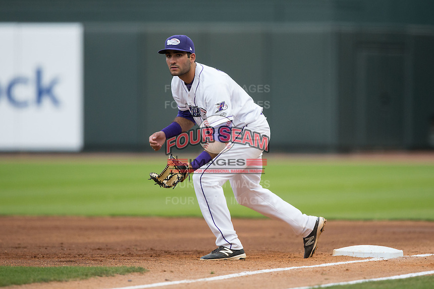 Winston-Salem Dash first baseman Nick Basto (21) on defense against the Myrtle Beach Pelicans at BB&T Ballpark on April 19, 2016 in Winston-Salem, North Carolina.  The Dash defeated the Pelicans 6-5.  (Brian Westerholt/Four Seam Images)