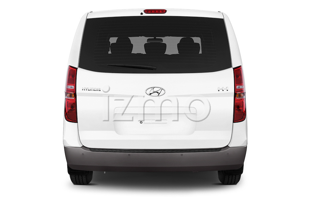 Straight rear view of a 2015 Hyundai H-1 People Executive 5 Door Passenger Van Rear View  stock images