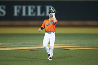 Virginia Cavaliers second baseman Andy Weber (19) catches a fly ball in shallow center field during the game against the Wake Forest Demon Deacons at David F. Couch Ballpark on May 18, 2018 in  Winston-Salem, North Carolina.  The Cavaliers defeated the Demon Deacons 15-3.  (Brian Westerholt/Four Seam Images)