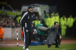 Home manager Tony Pulis and his opposite number Unai Emery watching the action in the first half from the side of the pitch at the Britannia Stadium, Stoke-on-Trent, during the UEFA Europa League last 32 first leg between Stoke City and visitors Valencia. The match ended in a 1-0 victory from the visitors from Spain. Mehmet Topal scored the only goal in the first half in a match watched by a crowd of 24,185.