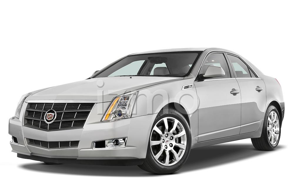 Low aggressive front three quarter view of a 2008 Cadillac CTS sedan.