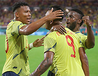 MIAMI GARDENS - ESTADOS UNIDOS, 16-11-2019: Alfredo Morelos jugador de Colombia celebra después de anotar el primer gol de su equipo durante partido amistoso amistoso entre Colombia y Perú jugado en el Hard Rock Stadium en Miami Gardens, Estados Unidos. / Alfredo Morelos player of Colombia celebrates after scoring the first goal of his team during a friendly match between Colombia and Peru played at Hard Rock Stadium in Miami Gardens, Estados Unidos. Photo: VizzorImage / FCF / Cont