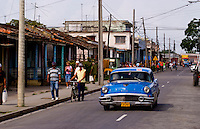 Street scene of traffic with American classic auto in Havana Cuba Habana