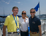 Stephen Lind, Daisy and Benjamin Toulouze during the Concours d'Elegance Wood Boat Show at Lake Tahoe on Friday, August 10, 2018.