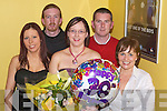 30TH: Lorraine Carroll Listowel who celebrated her 30th Birthday at the Kingdom Greyhound Stadium on Saturday night. L-r; Marie Heffernan, David Conway, Lorraine Carroll(Birthday lady),Eoin Conway and Anne Conway. .Kelly, daughter of Douglas and the late Yvonne Lane, Carrigeendaniel. Tralee and David, son of Gladys and Michael Sweeney, Connolly Park, Tralee, who were married on Saturday at St John the Bapist Church, Balloonagh by Fr Leane. Best man was Steven Sweeney and groomsmen were Luke Bennett and Ryan Sweeney. Bridesmaids were Gail Sweeney, Liv Rian and Eileen Bennett. The reception was held at The Abbey Gate Hotel, Tralee. .Deirdre,daughter of Eileen and Miche?al O Cinne?ide, Riverside Drive, Oakview, Tralee, and Michael, son of Dan and the late Michael Curtin, 27 Lynwood Patrk, Ballysimon, Co Limerick, who were married on Saturday at St John's Church, Balloonagh by Fr Patsy Lynch. Best man was Colm O'Leary. Bridesmaid was Orla Ni? Cinne?ide sister of the bride. The reception was held at Ballyseedy Castle Hotel, Tralee. The couple will reside Limerick. .The Murphy family l-r: Joe, .Front of Elle Hairdressing and Beauty Salon, Mounthawk Tralee. .CHRISTENING: Martha Spillane with her baby Laura Kate who was christened on Saturday in St John's Church Causeway and afterwards held a reception at Ballyroe Heights Hotel, Tralee with family and friends. Front l-r:Pat Spillane,Cliona Hickey, Martha and Baby Laura Spillane, Mary Spillane,P Spillane and Sonny Stack. Centre l-r: Anne O'Connell,Denise Sheehy,Lorraine McElligott,Michelle Diggins,Stephen Hickey,Maureen Spillane,Neille O'Connor,Helena Brosnan and Margaret Spillane. Back l-r: Billy O'Connell,Mary Diggins,Norma O'Sullivan,Timmy Spillane,madeline Brosnan,Geraldine Hickey and John Spillane..Marie,daughter of Noreen and Mickey Finn,Killshannig,Maharees, and Patrick, son of Rosarie and the late Thomas O'Donnell, Killiney, Castlegregory who were married on Saturday at St Mary's Church, Castlegregory by Fr William C