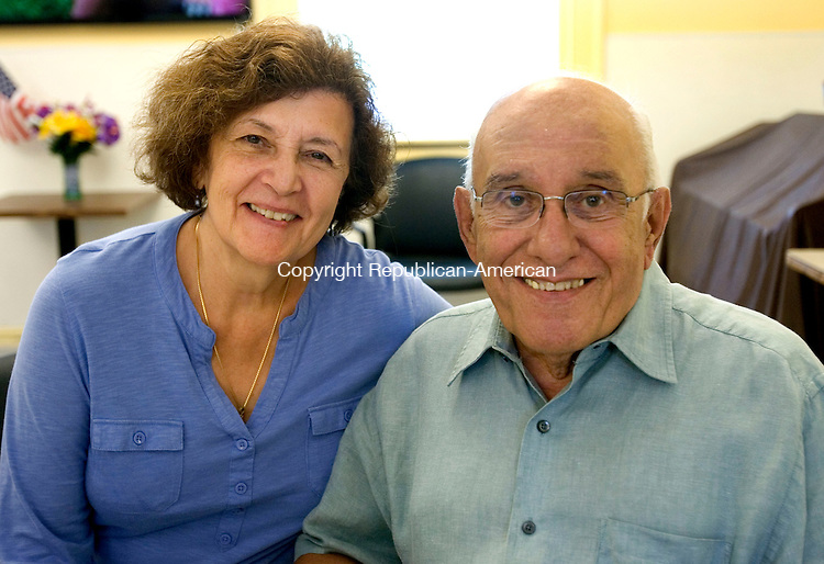 MIDDLEBURY CT. 24 July 2014-072414SV06-Lucy and Sam Calabro of Middlebury attend the Ice Cream Social at the Middlebury Senior Center in Middlebury Thursday. <br /> Steven Valenti Republican-American