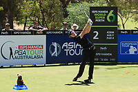 Sean Crocker (USA) in action on the 2nd during Round 3 of the ISPS Handa World Super 6 Perth at Lake Karrinyup Country Club on the Saturday 10th February 2018.<br /> Picture:  Thos Caffrey / www.golffile.ie<br /> <br /> All photo usage must carry mandatory copyright credit (&copy; Golffile | Thos Caffrey)