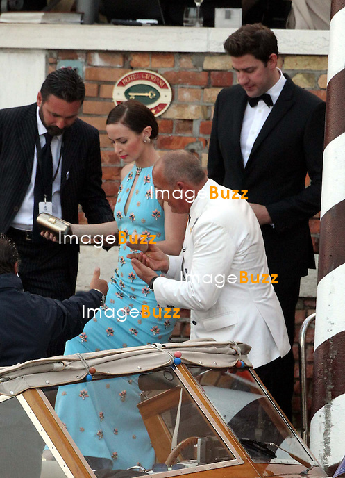 Emily Blunt, husband John Krasinski  - GEORGE CLOONEY &amp; AMAL ALAMUDDIN WEDDING CEREMONY AT THE AMAN RESORTS HOTEL IN VENICE - <br /> George Clooney &amp; British fiancee Amal Alamuddin and guests on taxi boat on the Grand Canal on their way to the seven-star Aman Hotel for the wedding celebrations.<br /> Robert De Niro, Matt Damon, Brad Pitt and Cate Blanchett were among the other stars, like Cindy Crawford, Rande Geber, Bill Murray, Emily Blunt.<br /> Italy, Venice, 27 September, 2014.