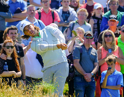 July 8th 2017, Portstewart Golf Club, Portstewart, Northern Ireland; Dubai Duty Free Irish Open Golf Championship, Day 3; Tommy Fleetwood (ENG) plays from the rough on the 4th during the third round of the Dubai Duty Free Irish Open