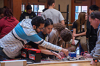 Students and adults of all ages gather at Occidental College for the annual Solar Cup on Saturday, January 30, 2016. Teams work together in Fowler Hall, the Library, and the Tiger Cooler to assemble solar-powered boats, cars, and more.<br />