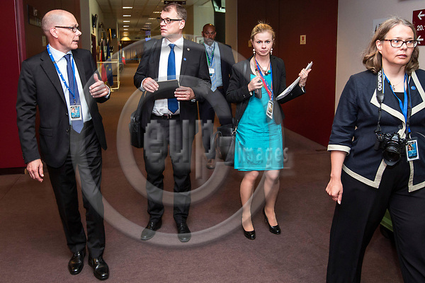 BRUSSELS - BELGIUM - 22 June 2017 -- Kare Halonen, State Secretary for EU affairs the Prime Minister's Office Head of EU Affairs Department with Juha Sipilä, the Prime Minister of Finland, Riikka Pakarinen, Special Adviser (EU Affairs) and Anne Sjöholm, EU Affairs Communications Manager on their way to the Prime Ministers press conference. -- PHOTO: Juha ROININEN / EUP-IMAGES
