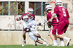 Los Angeles, CA 02/17/14 - Phil Hughes (LMU #13) and Christopher Toy (Santa Clara #11) in action during the Santa Clara University - Loyola Marymount University MCLA's Men's lacrosse game at Loyola Marymount University.  Santa Clara defeated LMU 11-10 in overtime.