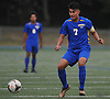 Juan Gonzalez #7 of Roosevelt settles a pass during a Nassau County varsity boys soccer game against host Roslyn High School on Thursday, Oct. 5, 2017. Trailing 2-1 in the second half, he scored the tying and go-ahead goals in Roosevelt's 4-2 win.