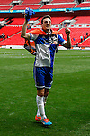 Tom Lockyer of Bristol Rovers celebrates victory in the 2015 Vanarama Conference Promotion Final match between Grimsby Town and Bristol Rovers at Wembley Stadium, London<br /> Picture by David Horn/eXtreme aperture photography +44 7545 970036<br /> 17/05/2015