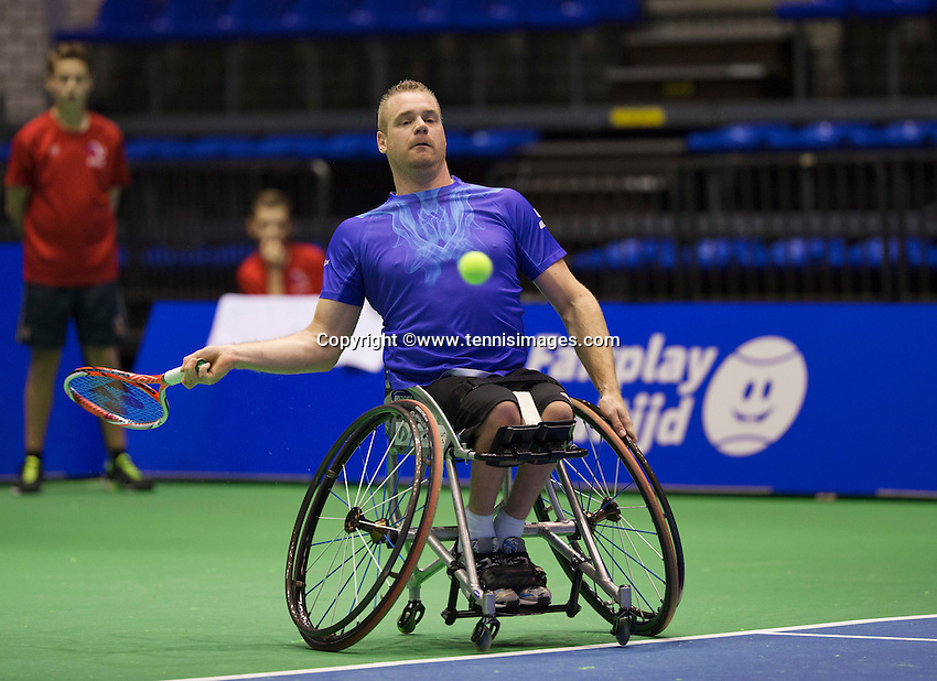 Rotterdam, Netherlands, December 17, 2015,  Topsport Centrum, Lotto NK Tennis, Whelchair semifinal men: Maikel Scheffers (NED)<br /> Photo: Tennisimages/Henk Koster