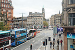 View of West End and along Shandwick Place now the tram works have been removed and the road reopened.<br /> <br /> Image by: Malcolm McCurrach