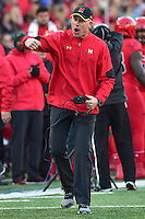 College Park, MD - NOV 12, 2016: Maryland Terrapins head coach DJ Durkin argues a call on the sidelines during game between Maryland and Ohio State at Capital One Field at Maryland Stadium in College Park, MD. (Photo by Phil Peters/Media Images International)