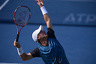 Washington, DC - August 5, 2015: Lleyton Hewitt serves the ball during a match against Feliciano Lopez at the Citi Open tennis tournament at the FitzGerald Tennis Center in the District of Columbia, August 5, 2015.  (Photo by Don Baxter/Media Images International)