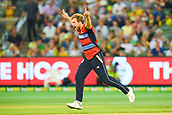 10th February 2018, Melbourne Cricket Ground, Melbourne, Australia; International Twenty20 Cricket, Australia versus England;  David Willey of England celebrates the opening wicket of David Warner