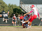 Palos Verdes, CA 10/24/14 - Andrew Phillips (Peninsula #16), Preston Faecher (Redondo Union #4) and Dominik Eberle (Redondo Union #42)in action during the Redondo Union - Palos Verdes Peninsula CIF Varsity football game at Peninsula High School.