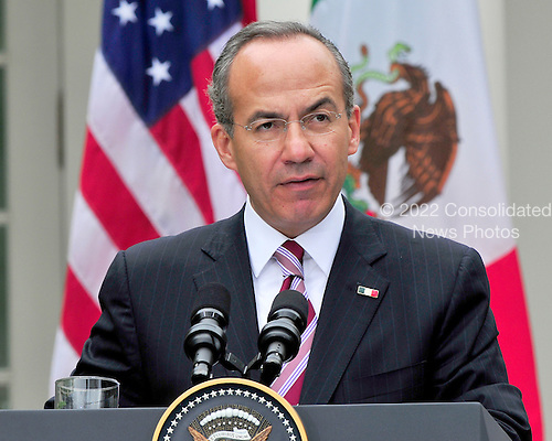 President Felipe Calderón of Mexico holds a joint press conference with United States President Barack Obama (not pictured) in the Rose Garden of the White House in Washington, D.C. during a State Visit on Wednesday, May 19, 2010..Credit: Ron Sachs / CNP