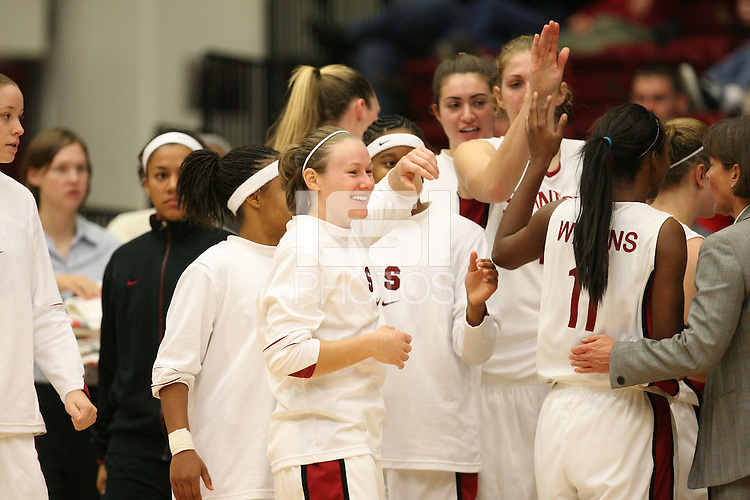 29 November 2006: Stanford Cardinal Clare Bodensteiner and the team during Stanford's 88-56 win against the Santa Clara Broncos at Maples Pavilion in Stanford, CA.