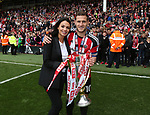 Sheffield United's Billy Sharp celebrates with wife Jade during the League One match at Bramall Lane, Sheffield. Picture date: April 30th, 2017. Pic David Klein/Sportimage