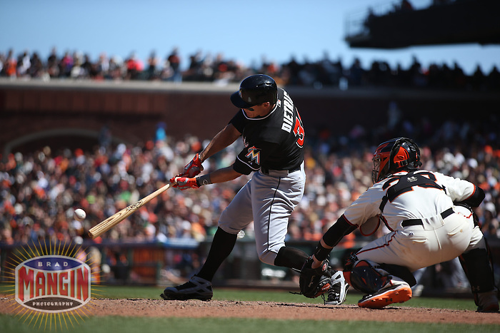 SAN FRANCISCO, CA - MAY 18:  Derek Dietrich #32 of the Miami Marlins bats against the San Francisco Giants during the game at AT&T Park on Sunday, May 18, 2014 in San Francisco, California. Photo by Brad Mangin