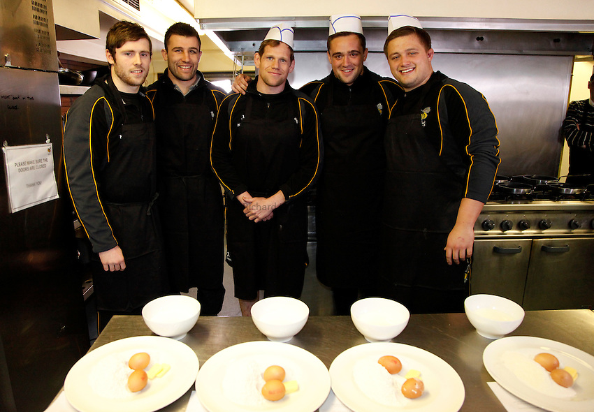 Photo: Richard Lane/Richard Lane Photography. London Wasps Shrove Tuesday Pancake Making Comptition. 12/02/2013. (lr to rt) Elliot Daly, Chris Bell, T Rhys Thomas, Will Taylor and Phil Swainson.