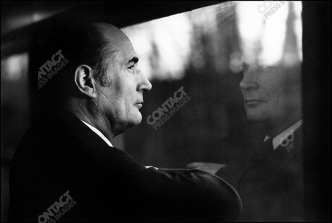 Socialist Party first secretary François Mitterrand en route to his political turf of Nevers. France, January 1978