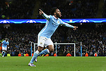 Raheem Sterling of Manchester City celebrates scoring his sides third goal - Manchester City vs Monchengladbach - UEFA Champions League - Etihad Stadium - Manchester - 08/12/2015 Pic Philip Oldham/SportImage
