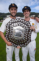Jamie Gibson and Andrew Fletcher. The Wellington Firebirds celebrate winning the 2019-2020 Plunket Shield at Basin Reserve in Wellington, New Zealand on Thursday, 19 March 2020. Photo: Dave Lintott / lintottphoto.co.nz