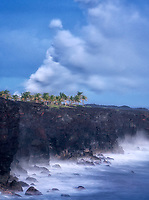 Steam from lava reaching ocean from volcano on Hawaii Volcanoes National Park,Hawaii Island